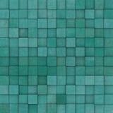 Het vierkante mozaïek betegelde geel blauwgroen grungepatroon Stock Afbeelding
