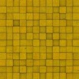 Het vierkante mozaïek betegelde geel ocre grunge patroon Stock Fotografie