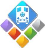 Het Vierkante Pictogram van de trein Royalty-vrije Stock Afbeeldingen