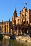 Het Vierkante Plein van Spanje van Spanje in Sevilla, Spanje stock afbeeldingen