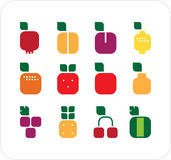 Het vierkante teken van vruchten Stock Fotografie