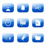 Het Vierkante Vector Blauwe Pictogram van de tijdduur Stock Foto