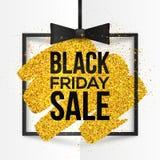 Het vierkante vectorkader met gouden schittert binnen borstelslag en Black Friday-Verkoopteken Royalty-vrije Stock Fotografie