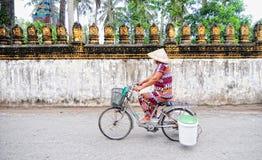 Het Vietnamese vrouw biking op straat royalty-vrije stock afbeelding
