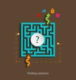 Het vinden van het conceptenmalplaatje van het oplossingen vlak ontwerp met pictogrammen Stock Afbeeldingen