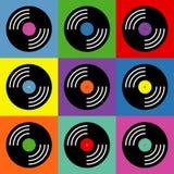 Het vinyl kleurrijke patroon van het muziekpop-art royalty-vrije illustratie