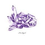 Het violetkleurige van het waterverf purpere kristal cluster hand getrokken die schilderen illustratie op witte achtergrond wordt Stock Fotografie