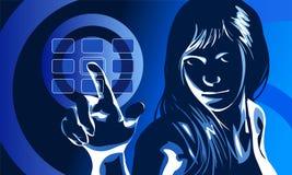 Het virtuele Blauw van het Meisje Stock Fotografie