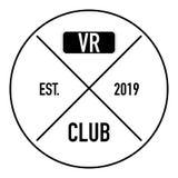 Het virtuele embleem van de werkelijkheidsclub op witte achtergrond royalty-vrije illustratie
