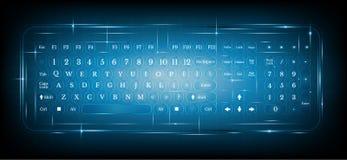 Het virtuele glanzende toetsenbord of het toetsenbord van computerpc op blauw Royalty-vrije Stock Foto