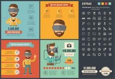 Het virtuele Malplaatje van Infographic van het Werkelijkheids vlakke ontwerp Royalty-vrije Stock Foto's