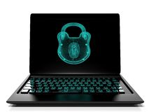 Het virtuele slot aan het toetsenbord, 3d informatiebeveiligingsconcept geeft terug Royalty-vrije Stock Afbeelding