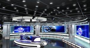 Het virtuele TV-Nieuws plaatst 1 Stock Afbeelding
