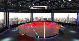 Het virtuele TV-Studiopraatje plaatste 2 Achtergrond 3 Stock Afbeelding