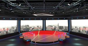 Het virtuele TV-Studiopraatje plaatste 2 Achtergrond 4 Royalty-vrije Stock Foto's