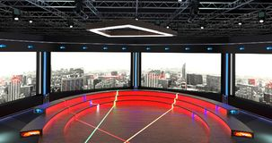 Het virtuele TV-Studiopraatje plaatste 2 Achtergrond 5 Royalty-vrije Stock Afbeeldingen
