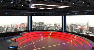 Het virtuele TV-Studiopraatje plaatste 2 Achtergrond 6 Stock Foto's