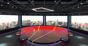 Het virtuele TV-Studiopraatje plaatste 2 Achtergrond 2 Stock Afbeelding