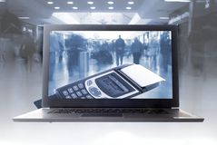 Het virtuele winkelen Stock Foto