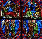 Het Visitation-Gebrandschilderde glas in Kathedraal van Reizen, Frankrijk Royalty-vrije Stock Fotografie