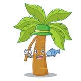 Het vissende beeldverhaal van het palmkarakter stock illustratie