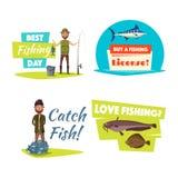 Het vissende sport en hobby vastgestelde ontwerp van het beeldverhaalpictogram royalty-vrije illustratie