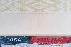 Het visum van de V.S. in paspoort stock foto