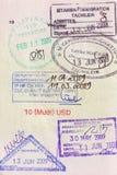 Het visumzegels van de reis op paspoort Royalty-vrije Stock Afbeelding