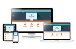 Het vlak volledig ontvankelijke ontwerp van het websiteweb in moderne computers Stock Afbeeldingen