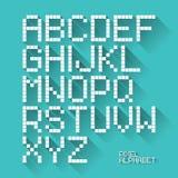 Het vlakke alfabet van het ontwerppixel Stock Foto