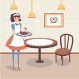 Het vlakke binnenland van de bakkerijopslag met lijst, houten stoel en beeld van pretzel op de muur De glimlachende holding van d stock illustratie