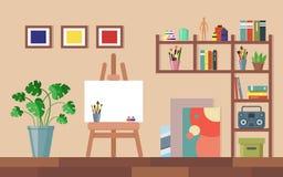 Het vlakke binnenland van de kunststudio De ruimte van de kunstenaarsworkshop royalty-vrije illustratie