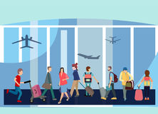 Het vlakke Binnenland van de Ontwerpstijl van Eindzaal met Passagier royalty-vrije illustratie