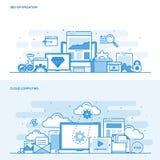 Het vlakke concept Seo van de lijnkleur en Wolk gegevensverwerking royalty-vrije illustratie