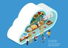 Het vlakke concept van de de wolkendiensten van het ontwerpweb: laptops, tabletten, telefoons