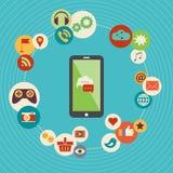 Het vlakke concept van de ontwerp moderne vectorillustratie sociale media Stock Afbeelding