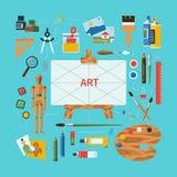 Het vlakke concept van de ontwerp vector fijne kunst Stock Foto's
