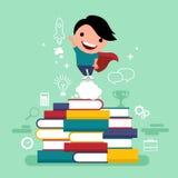 Het vlakke concept van de ontwerp vectorillustratie waardeonderwijs, kennis, stappen voor succesvolle carrières, persoonlijke ont stock illustratie