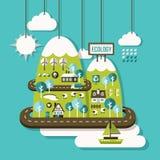 Het vlakke concept van de ontwerpillustratie ecologie Stock Afbeelding
