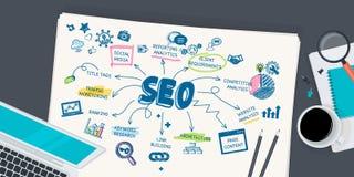 Het vlakke concept van de ontwerpillustratie voor SEO Stock Afbeeldingen