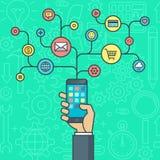 Het vlakke concept van de ontwerpillustratie voor slimme mobiele telefoon app Stock Illustratie