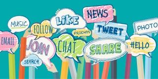 Het vlakke concept van de ontwerpillustratie voor sociaal netwerk Stock Foto's