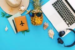het vlakke concept van de de zomervakantie, legt laptop, ananas in sunglass Stock Foto's