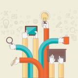 Het vlakke concept van het lijnontwerp voor creatief ontwerpproces Stock Afbeeldingen