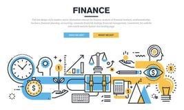Het vlakke concept van het lijnontwerp voor financiën vector illustratie