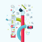 Het vlakke concept van het lijnontwerp voor Internet-marketing Stock Afbeelding