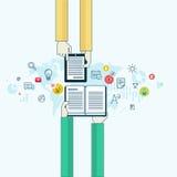Het vlakke concept van het lijnontwerp voor online onderwijs