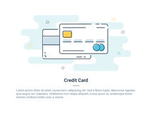 Het vlakke concept van het lijnpictogram Krediet of Debetkaart Vector illustratie stock illustratie