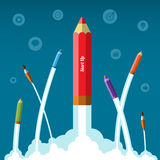 Het vlakke concept van het ontwerp vectoropstarten van bedrijven Stock Fotografie