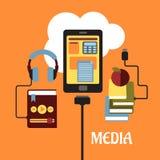 Het vlakke concept van verschillende media Royalty-vrije Stock Foto's